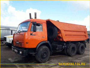 Оранжевый КАМАЗ 55111 самосвал с вместительным кузовом