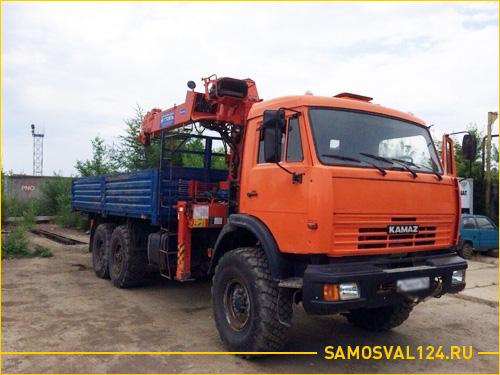 КАМАЗ воровайка для перевозки крупной техники в кузове